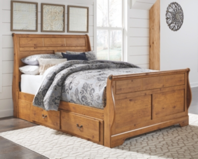 Bastron Queen Sleigh Bed with 2 Storage Drawers
