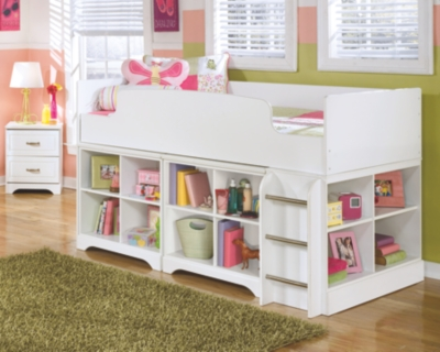 Lebec Twin Loft Bed with 2 Bookcases