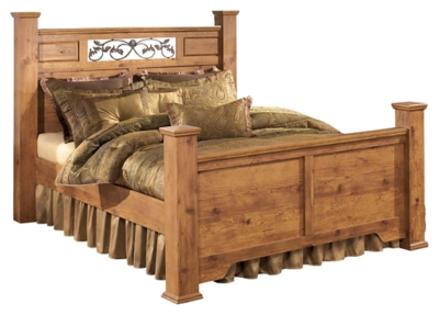 Bastron King Poster Bed with 2 Storage Drawers