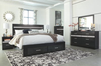 Santee King Panel Bed with 2 Storage Drawers