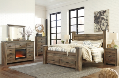 Trenton King Poster Bed with 2 Storage Drawers