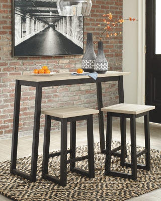 Waylowe Counter Height Dining Room Table and Bar Stools (Set of 3)