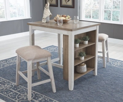 Shawnee Counter Height Dining Room Table and Bar Stools (Set of 3)